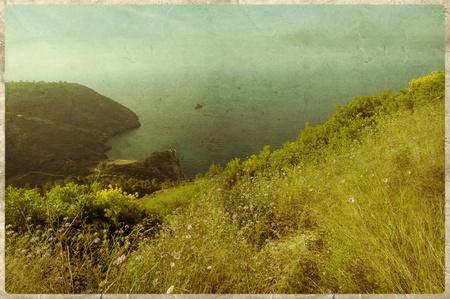 Old postcard style, Elba, Island Stock Photo