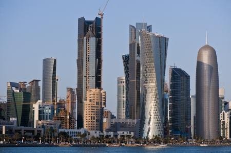 doha, water, view, skyline, qatar