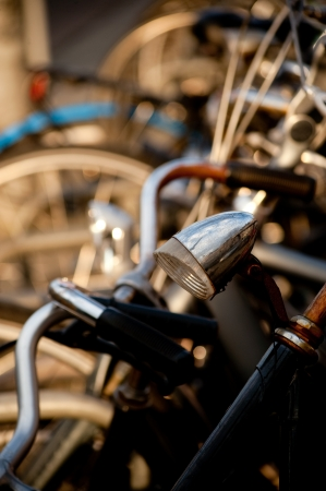 Bicycles on the Amsterdam streets. View to Holland Stock Photo