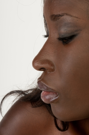 Beautiful african woman, a natural face closeup Stock Photo