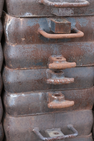 ferrous foundry: Foundry, sand molded casting, molding flasks Stock Photo