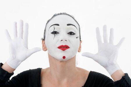 Beautiful Woman Mime Stock Photo