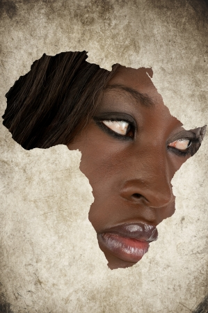 African Map on a Woman Face photo