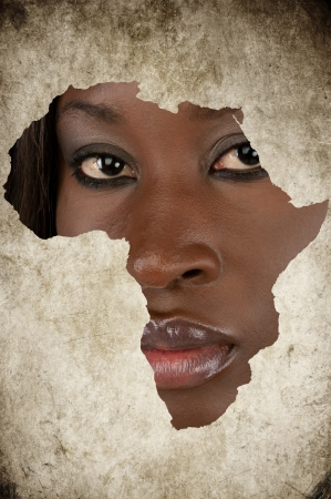 African Map on a Woman Face Stock Photo