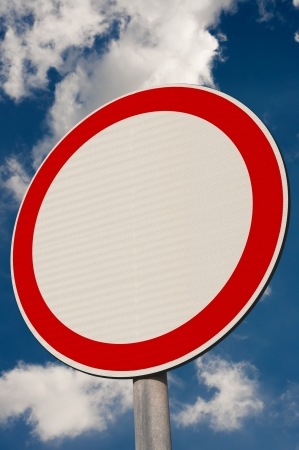 No Entry, sign against a  blue sky. Stock Photo