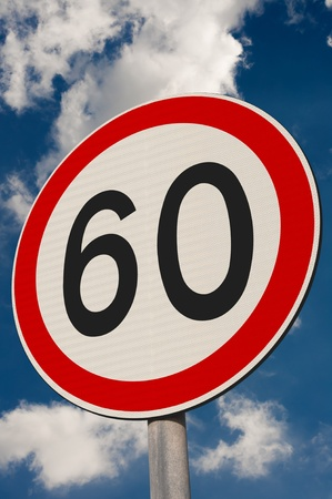 sky is the limit: Speed limit sign against a blue sky.