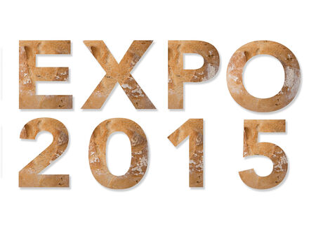 Written expo 2015, realized with natural materials and foods. Expo 2015 Milan Italy Standard-Bild