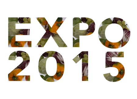 Written expo 2015, realized with natural materials and foods. Expo 2015 Milan Italy Stock Photo