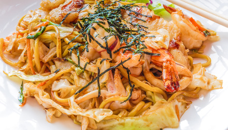 yakisoba: Japanese stir fried noodle or Yakisoba with assorted seafood