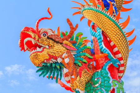 This colorful Chinese dragon on the pole image is taken from a public Chinese shrine. photo