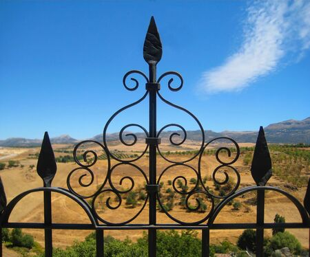 Metal Fence and landscape in Ronda, Spain