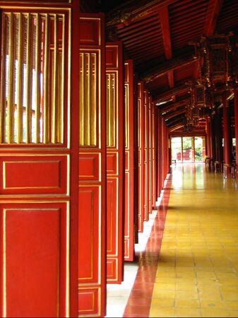 Red doors in vietnamese temple