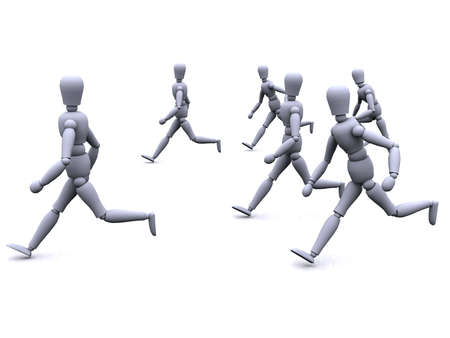 3d people are running as a group Stock Photo - 759001