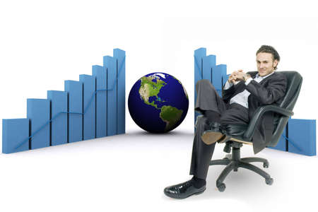 3d rendered earth and bars showing profits increasing photo