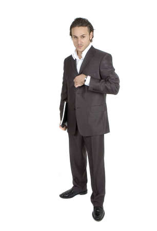 sleek: businessman posgin against white background in sleek outfit Stock Photo