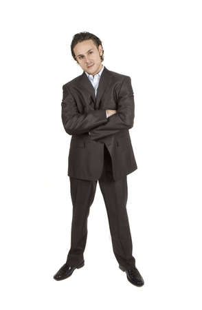 sleek: businessman posgin against white background in sleek outfit Stock Photo