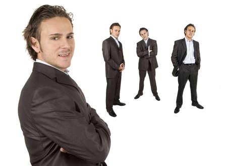 sleek: businessman posing against white background in sleek outfit
