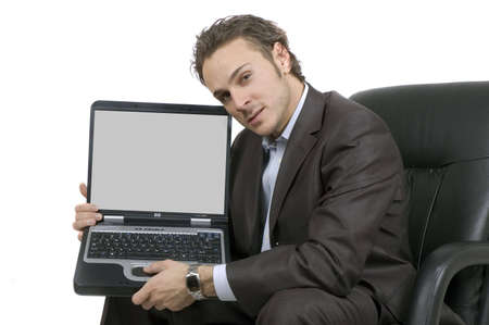 business man showing something on his laptop screen Фото со стока