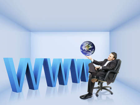 dns: a businessman is holding an earth in his hand