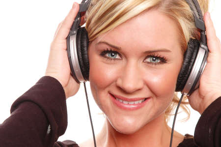 tune: a girl is having fun listening to music