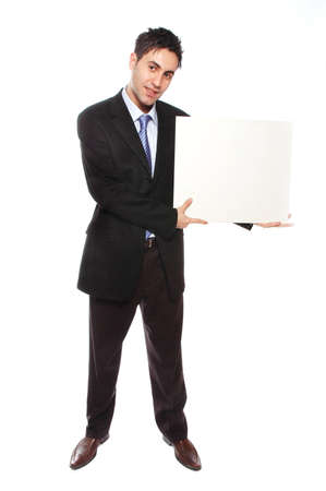business man is showing a blank card board photo