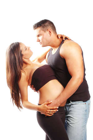 a pregnant woman and man in love