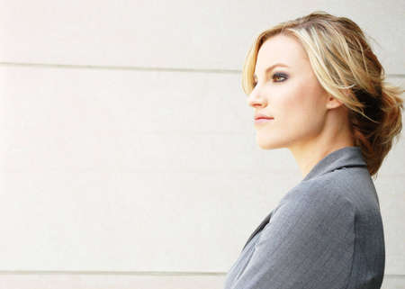 envisioning: a business woman is envisioning the future