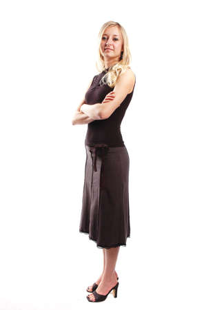 business woman is posing against white background