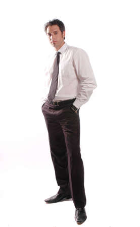 a motivated businessman is posing against white background