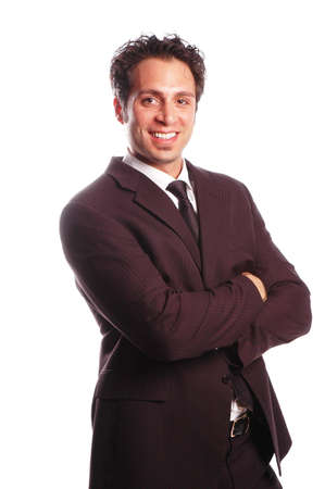 motivated: a motivated businessman is posing against white background