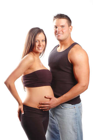 a pregnant woman and a man make a beautiful coupple Stock Photo
