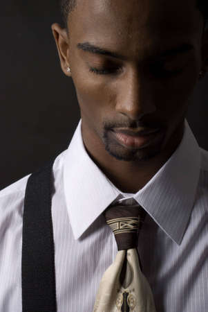 African American businessman is very sad and depressed photo
