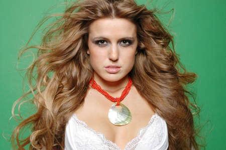 sexy girl fashion photo against green screen