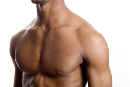 exersice: a muscular model is posing against white background
