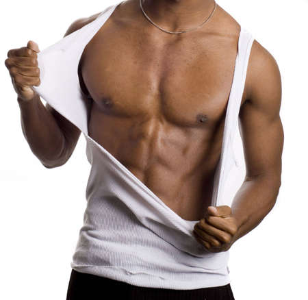 american sexy: a muscular model is posing against white background