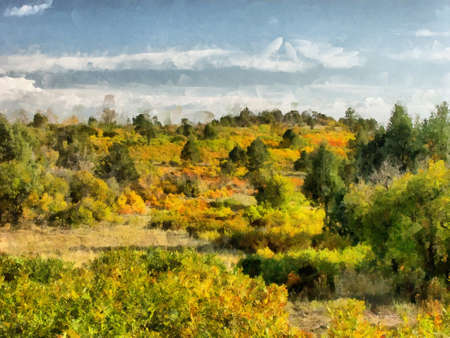 A digital photo art illustration of a autumn landscape Reklamní fotografie
