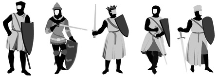 chevalerie: Ensemble de 5 chevaliers illustration Illustration