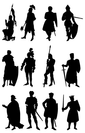Set of 12 silhouettes of Knights in vaus positions. Stock Vector - 6563078