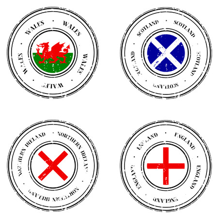 Set of Four Grunge Rubber Stamps featuring the flags of the United Kingdom. Top Left: Wales (Y Ddraig Goch).  Top Right: Scotland (St Andrews). Bottom Left: Northern Ireland (St Patricks). Bottom Right: England (St Georges).