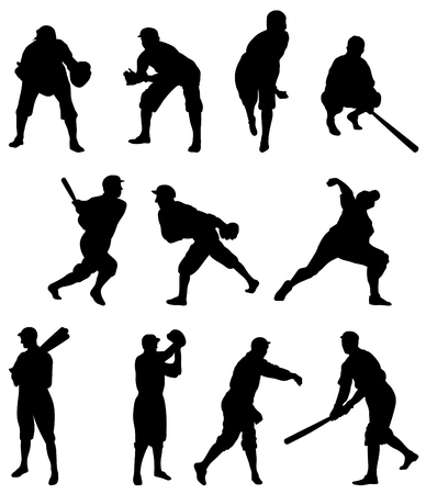 Baseball Player Silhouette – Set One Stock Vector - 6972843