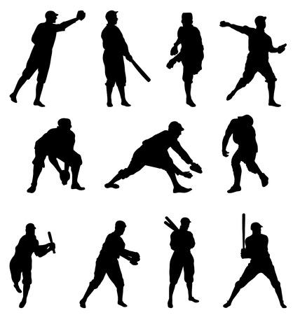 catcher baseball: Silhouette de joueur de baseball ? d�finir deux