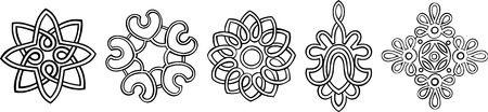Set of 5 hand-drawn, stylised medallion patterns to incorporate into your design Illustration