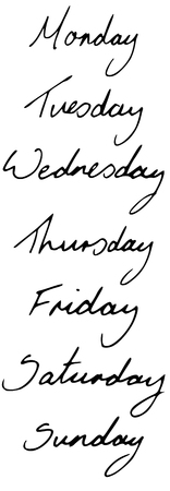 Monday through Sunday, hand written and converted to an illustration Vector