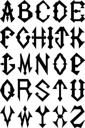 Set of Gothic Style Alphabet Letters.