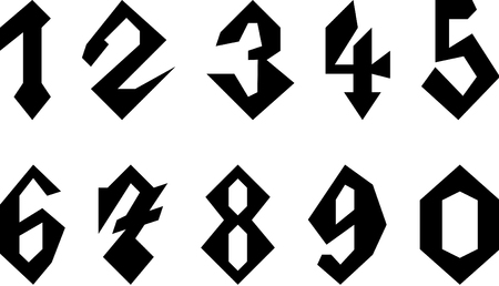Set of Gothic Style Numbers