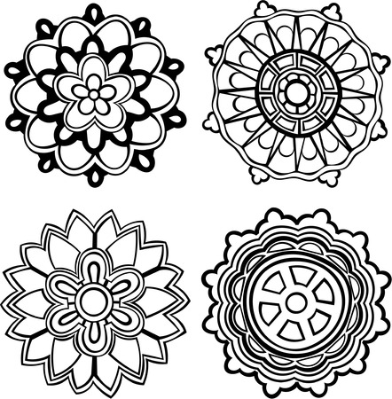 set of 4 hand-drawn, stylised medallion patterns to incorporate into your design Stock Vector - 7301774