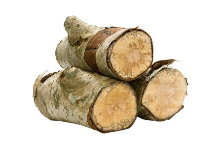 Three logs, stacked and isolated; the carbon neutral way to heat your home. Stock Photo