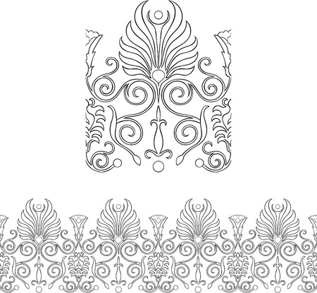 Stylized repeatable Victorian style outlined border Stock Vector - 7601540