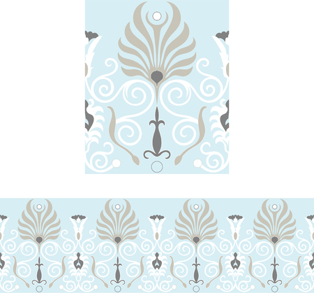 Repeatable Victorian style brown and blue border Stock Vector - 7601545