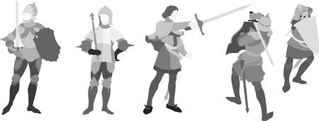chevalerie: cinq Chevaliers Illustration (d�finir trois)
